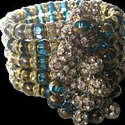 SALE Rhinestone Rondelles & Aqua Dangling Rhinestone Balls Wide Runway Cuff Bracelet