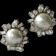 SALE KENNETH LANE Vintage Glass Pearls & Rhinestones Earrings