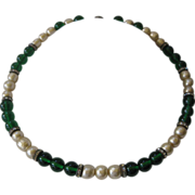 SALE 1930s French Art Deco Green Glass & Baroque Pearls & Rhinestones Necklace