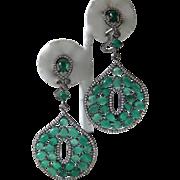 SALE Green Aventurine Stones Set In Sterling Silver Earrings