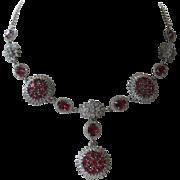 SALE Beautiful Rhodolite Garnet Stones 925 Sterling Silver Necklace