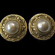 EDOUARD RAMBAUD Paris Gold Tone & Glass Pearl Earrings