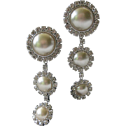 ALEXIS KIRK Long Rhinestones & Pearls Dangling Earrings