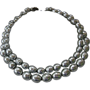 SALE MIRIAM HASKELL Double Strand Platinum Glass Pearls Necklace