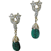 SALE TRIFARI Jewels Of India Gorgeous Large Marbled Green Glass & Rhinestones Chandelier Earri