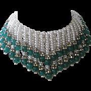 SALE HATTIE CARNEGIE Huge Heavy Marbled Green Glass & Glass Pearls Bib Necklace