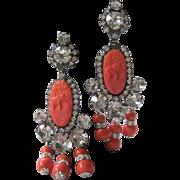 SALE Coral Glass & Rhinestones Chandelier Designer Earrings