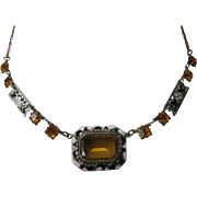 SALE CZECH Vintage Enamel & Citrine Glass Necklace