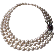 SALE CINER Vintage Glass Pearls Rhinestones & Glass Necklace