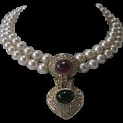 SALE CINER Stunning Glass Pearls & Rhinestones & Glass Vintage Necklace