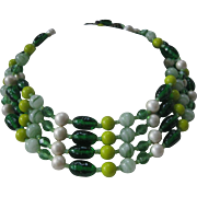 SALE MiRIAM HASKELL Green Glass & Pearls  4 Strands Vintage Necklace
