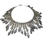 SALE VENDOME 1950s Glass Pearls & Dangling Crystals Bib Necklace