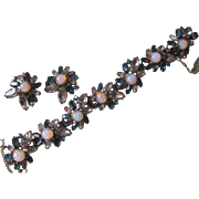 SALE ALICE CAVINESS Glass Opals & Rhinestones Bracelet & Earrings Demi Parure