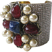 SALE Lawrence VRBA Marbled Blue & Red Glass Stones Rhinestones Cuff Bracelet