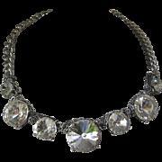 Stunning Huge Clear Rivoli Stones Necklace
