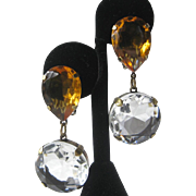 SALE Large Citrine & Clear Open Back Glass Stones Earrings J.Max