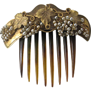 Beautiful Vintage Unsigned Haskell Pearls & Brass Hair comb