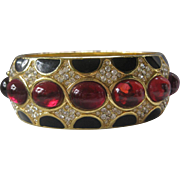 SALE CINER Amazing Large Glass & Rhinestones & Enamel Cuff Bracelet
