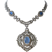 Art Deco French Paste Covered & Blue Moonstones Vintage Necklace