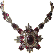 POLCINI Very Rare 1960 Open Back Red Cabochons & Clear Rhinestones Large Ornate Necklace