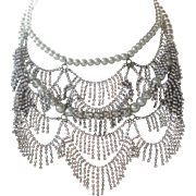 Gorgeous Glass Pearls & Dangling Rhinestones Large Bib Necklace