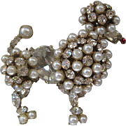 SALE SCHREINER New York Pearls & Rhinestones Vintage Poodle Pin Brooch