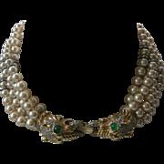 SALE Donald Stannard Heavy 5 Strand Vintage Glass Pearls & Rhinestones Rondelles Necklace