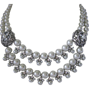 SALE GIVENCHY Dangling Rhinestones & Glass Pearls Double Strand Bib Necklace