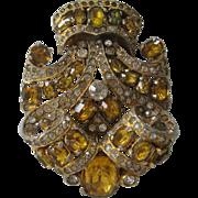 EISENBERG Gorgeous Citrine Glass Stones & Rhinestones Early Fur Clip