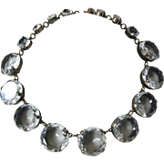 SALE Large Clear Ice Openback Round Glass Stones Necklace J.Max