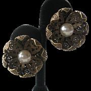 JOSEFF Of Hollywood Beautiful Intricate Brass Filigree Flower & Large Pearl Earrings