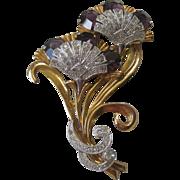 Gorgeous Large Vintage Rhinestone & Purple Glass Pin Brooch