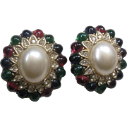 CINER Cabochons Rhinestones & Pearls Large Vintage Earrings