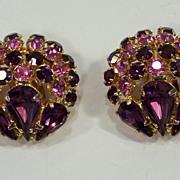 Vintage Warner Amethyst & Pink Rhinestone Earrings