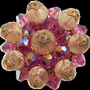 Vendome Pink Crystal & Peach Art Glass Brooch