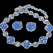 Vendome Light Sapphire Blue Rivoli Necklace Earring Demi