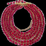 Vintage Castlecliff 10 Strand Red Crystal & Goldtone Necklace
