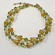 Vendome Green Crystal Tulip Art Glass Necklace