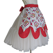 Vintage 1940s Red and White Southwestern Mexican Novelty Print Apron