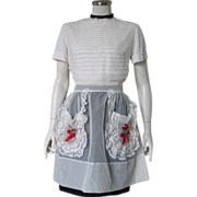 SALE Vintage 1960s Sheer White Dotted Swiss Hostess Apron with Embroidered Red Roses