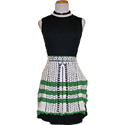 Vintage 1940s 1950s Crocheted Apron Green White