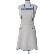 Vintage 1930s 1940s Muslin Pinafore Bib Apron with Ocean Blue Trim
