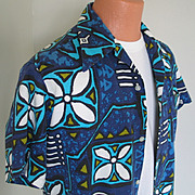 "SALE Vintage 1970s ""Made in Hawaii"" Blue Aloha Tiki Print Shirt L XL"