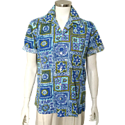 Vintage 1960s Blue Olive Green Lilac Tapa Batik Aloha Print Hawaiian Shirt Blouse Andrade   M