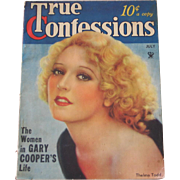 Vintage 1934 July True Confessions Magazine Authentic Original Complete Gary Cooper Thelma Tod