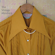 SALE Vintage 1970s Deadstock NOS H Bar C Western Cowgirl Blouse Tuxedo Tucks Pearl Snaps S