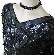 Authentic Vintage 1970s Disco Shimmer Black Glamour Sequined Beaded Top Blouse 44 Dancing Quee