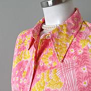 Vintage 1960s Vera Ladybug Bright Floral Print Blouse White Yellow Daisies on Pink