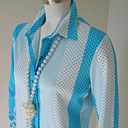 Vintage 1970s Turquoise and White Polka Dots Blouse M L