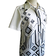 Vintage Late 1960s Black and White Geo Geometric Border Print Blouse by Oscar
